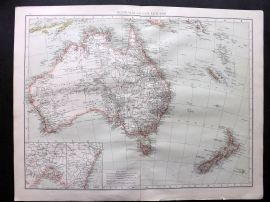 Times 1895 Antique Map. Australia and New Zealand